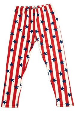 Wholesale Buttery Soft Vertical Stripes USA Flag Kids Leggings