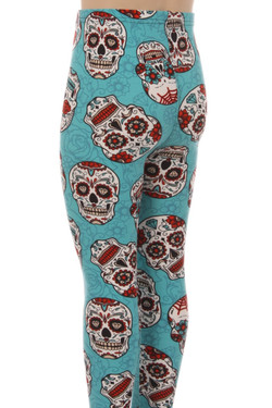 Wholesale Buttery Soft Teal Sugar Skull Kid's Leggings