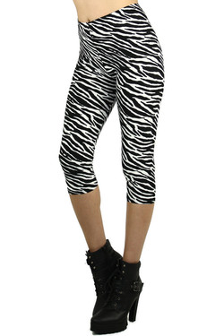 Side image of Wholesale Buttery Soft Zebra Print Capris