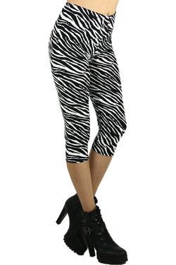 Front image of Wholesale Buttery Soft Zebra Print Capris