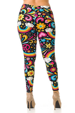 Wholesale Buttery Soft Groovy Hip Retro Plus Size Leggings - 3X-5X