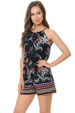 Wholesale Colorful Summer Floral Spaghetti Romper