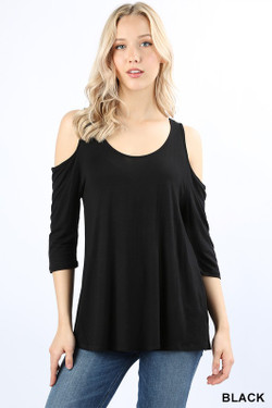 Wholesale Premium Loose Fit Cold Shoulder Rayon Top