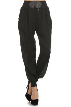Wholesale Easy Casual Belted Harem Loose Fit Leggings