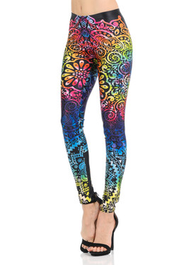 Wholesale Premium Graphic Groovy Rainbow Retro Mandala Leggings