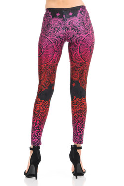Wholesale Premium Graphic Red Pink Ombre Paisley Mandala Leggings