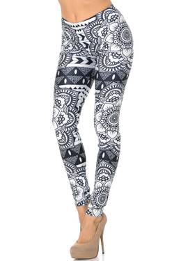 Wholesale Premium Graphic Monochrome Tribal Mandala Leggings