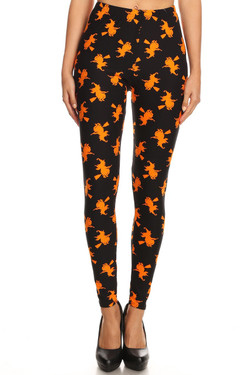 Wholesale Buttery Soft Broomstick Witches Halloween Plus Size Leggings - 3X-5X