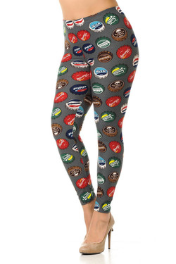 Wholesale Buttery Soft Groovy Bottlecap Plus Size Leggings - 3X-5X