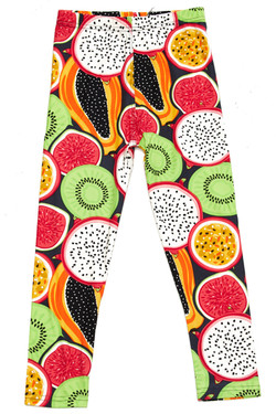 Wholesale Buttery Soft Colorful Tropical Fruit Kids Leggings