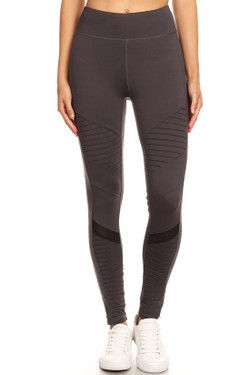 Wholesale Premium Charcoal Moto Mesh Workout Leggings