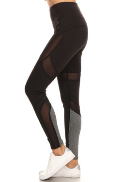 Wholesale Premium Black Multi Mesh Panel Workout Leggings