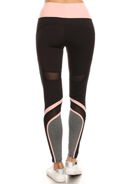 Wholesale Premium Pink Multi Mesh Panel Workout Leggings