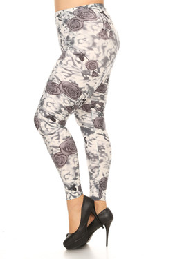 Wholesale Buttery Soft Rose Blur Plus Size Leggings - 3X-5X