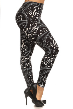 Right side leg image of Wholesale Buttery Soft Plus Size Music Note Leggings - 3X-5X