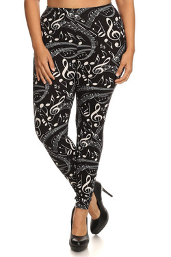 Front side image of Wholesale Buttery Soft Plus Size Music Note Leggings - 3X-5X
