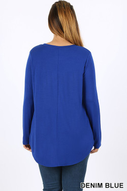 Wholesale Premium Round Neck Round Hem Long Sleeve Plus Size Top