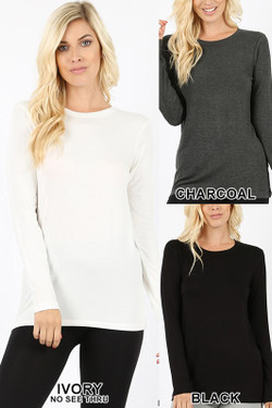 Wholesale Premium Round Neck Long Sleeve Rayon Top