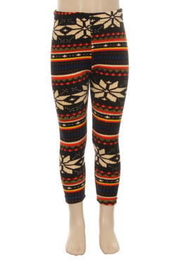 Wholesale Velour Autumn Snowflake Kids Leggings