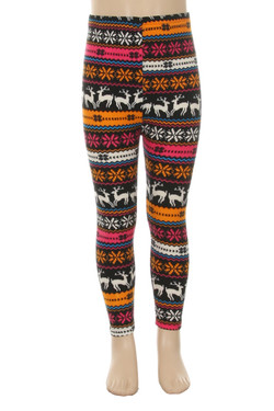 Wholesale Velour Jolly Colorful Reindeer Kids Leggings