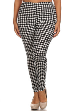 Wholesale Buttery Soft Houndstooth Plus Size Leggings - 3X-5X