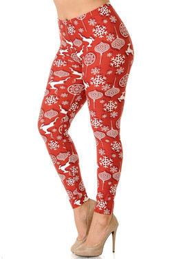 Wholesale Buttery Soft 3D Burgundy Christmas Plus Size Leggings