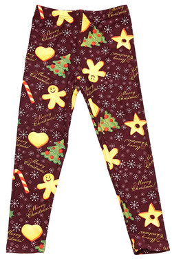Wholesale Buttery Soft Merry Christmas Holiday Cookies Kids Leggings