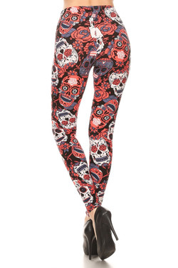 Wholesale Buttery Soft Crimson Sugar Skull Leggings