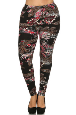 Front side image of Wholesale Buttery Soft Berry Plume Plus Size Leggings - 3X - 5X