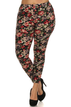 Front side image of Wholesale Buttery Soft Vintage Floral Plus Size Leggings - 3X - 5X