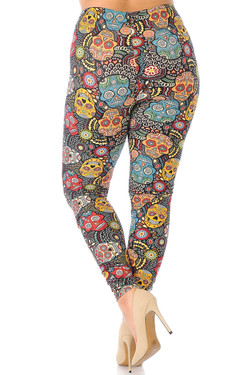 Wholesale Buttery Soft Mango Sugar Skull Plus Size Leggings - 3X-5X