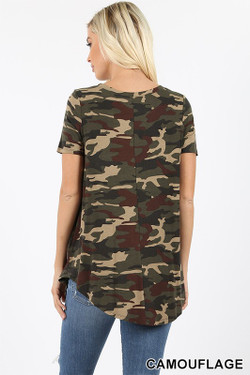 Wholesale Short Sleeve Round Neck and Round Hem Camouflage Top