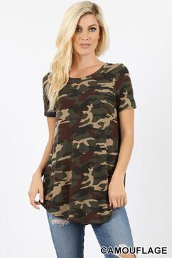 Wholesale Short Sleeve Round Neck and Round Hem Camouflage Top
