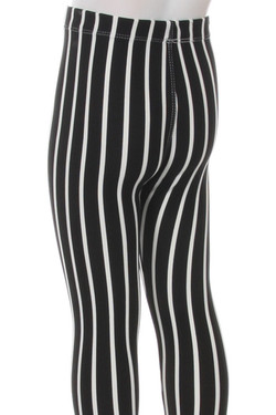 Wholesale Buttery Soft Black Pinstripe Kids Leggings