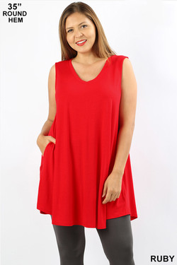 Wholesale V-Neck Round Hem Sleeveless Plus Size Rayon Top with Pockets - 35 Inch Length