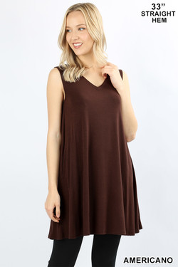 Wholesale V-Neck Sleeveless Straight Hem Rayon Top with Pockets - 33 Inch Length