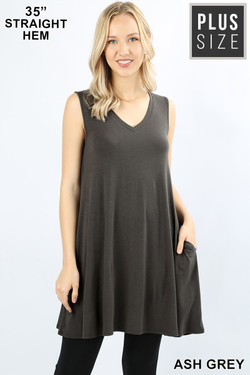 Wholesale V-Neck Sleeveless Straight Hem Plus Size Rayon Top with Pockets - 35 Inch Length
