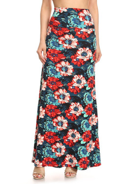 Wholesale Buttery Soft Painted Floral Maxi Skirt