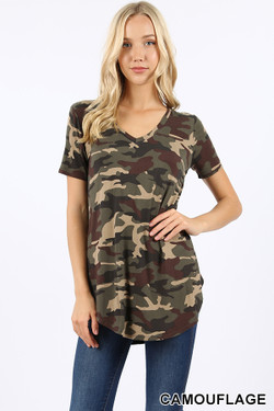 Wholesale Short Sleeve V-Neck and Round Hem Camouflage Top