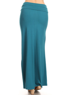 Wholesale Buttery Soft Solid Teal Maxi Skirt