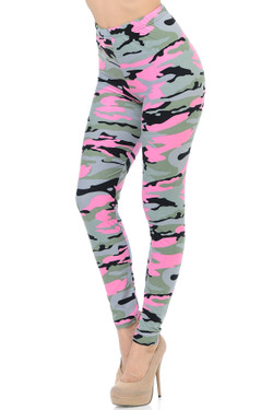 Wholesale Buttery Soft Candy Pink Camouflage Extra Plus Size Leggings - 3X-5X