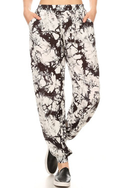 Wholesale Black Marble Tie Dye Harem Leggings