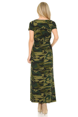 Wholesale Buttery Soft Short Sleeve Camouflage Maxi Dress
