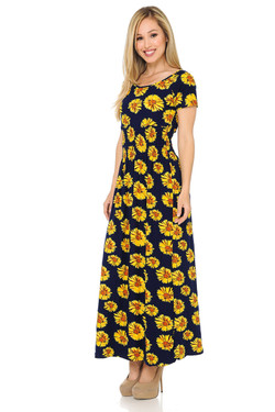 Wholesale Buttery Soft Short Sleeve Summer Daisy Maxi Dress