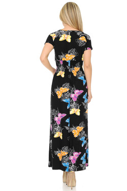 Wholesale Buttery Soft Short Sleeve Beautiful Butterfly Maxi Dress