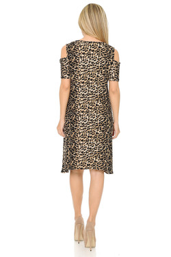 Wholesale Buttery Soft Cold Shoulder Feral Cheetah Shift Dress