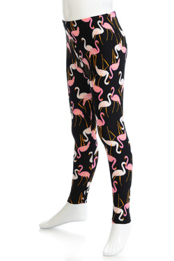 Wholesale Buttery Soft Pink and White Flamingo Kids Leggings