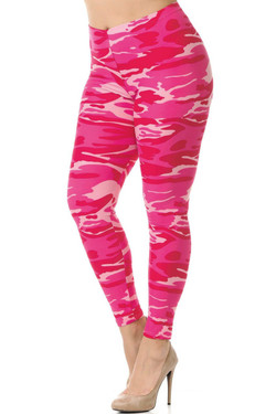 Wholesale Buttery Soft Pink Camouflage Plus Size Leggings - 3X-5X