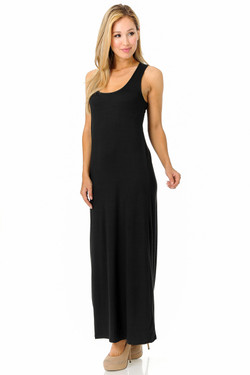 Wholesale Buttery Soft Basic Black Maxi Dress - EEVEE
