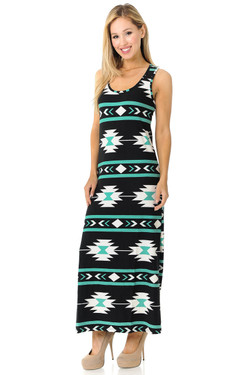 Wholesale Buttery Soft Mint on Black Aztec Maxi Dress - EEVEE